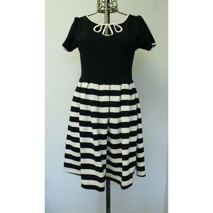 Dear Creatures Farro Striped Cutout Keyhole Dress